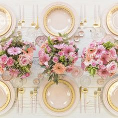 RENT: Lace Charger in Blush + Versailles Glass Dinnerware + Goa Flatware in Brushed 24k Gold/Pink + Pink & Pressed Glass Vintage Goblets + Pink Enamel Salt Cellars + Tiny Gold Spoons  SHOP: Versailles Glass Dinnerware + Goa Flatware in Brushed 24k Gold/Pink + Pink Enamel Salt Cellars + Tiny Gold Spoons