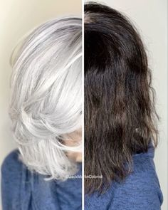 Amazing transformation from dark boxed hair color to icy silver hair. #silverhair #transformation #haircolor #hairtransformation #icyblonde #grayhair #greyhair #haircoloring #hairvideos Hair Color Purple, Brown Hair Colors, Grey Hair Video, Icy Hair, Dark Hair, Gray Hair Highlights, Silver Grey Hair, Silver Color, Silver Hair Colors