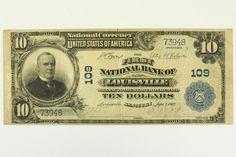 1902 Ten Dollar Bill First National Bank Louisville KY Note Blue Seal