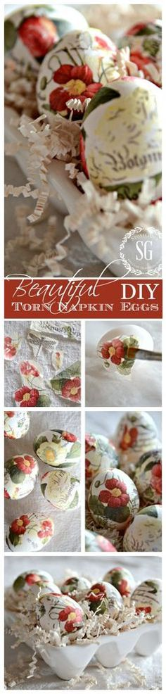 TORN TISSUE EGGS Easy to make and just gorgeous for Spring!