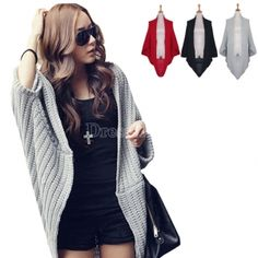 $9.31 Lady Batwing Loose Sweater Coat Knitting Long Cardigan Shawl Outwear