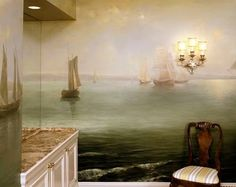 Seascape painted wall mural