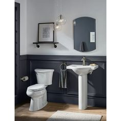KOHLER Veer H White Vitreous China Pedestal Sink Combo at Lowe's. The Veer pedestal sink combines crisp, sophisticated style with a functional design that's perfect for smaller bathrooms. The slender column pedestal Wainscoting Bathroom, Bathroom Wallpaper, Downstairs Bathroom, White Bathroom, Small Bathroom, Bathroom Ideas, Bathroom Organization, Bathroom Gallery, Natural Bathroom