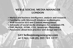 #web #socialmedia #SEO #CMS #BI #Windows #marketresearch #HTML #CSS #Javascript #MGTJOBS #JOBS