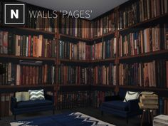 A mural of dark bookshelves filled with books. Found in TSR Category 'Sims 4 Walls' Bookshelves, Bookcase, Sims 4 Tsr, Book Wall, Sims 4 Build, Sims 4 Houses, Wall Murals, Improve Yourself, Flooring