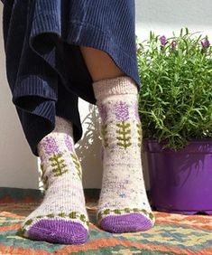 Ravelry: Blooming Lavender socks pattern by Stone Knits Crochet Socks, Knitting Socks, Hand Knitting, Knit Crochet, Knit Socks, Knit Mittens, Different Stitches, Fingering Yarn, Sock Yarn