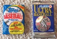 Lot of 2 Packs of factory sealed/unopened Baseball cards. Lot includes (1) Topps 1989 wax pack Major League Baseball (15 Bubble Gum  Cards 1 Stick Bubble Gum). Lot also includes (1) Fleer plastic-foil-looking   wrapper 1991 Ultra Baseball (14 Cards 1 Sticker).