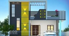 house front design single floor 1400 square feet budget friendly modern house with stair room by Dream Form from Kerala. House Balcony Design, House Outer Design, Single Floor House Design, Modern Small House Design, 2 Storey House Design, Modern Exterior House Designs, Village House Design, Latest House Designs, Kerala House Design