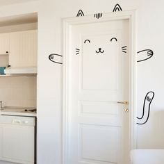 Image discovered by Find images and videos about cat, kawaii and home on We Heart It - the app to get lost in what you love. Baby Bedroom, Girls Bedroom, Bedroom Decor, Monochrome Nursery, Room Inspiration, Wall Decals, Tall Cabinet Storage, Kids Room, Sweet Home