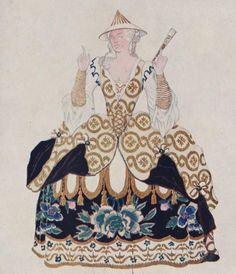 Design for the costume of the 'Chinese' by Leon Bakst (1866-1924)    Ballet in five scenes after Perrault's tale, The sleeping princess (La belle au bois dormant): music by P. Tchaikovsky, choreography by Marius Petipa. [ Alhambra theatre, novembre 1921]