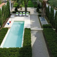 It often seems that you won't be able to accommodate a pool in your small backyard. Don't be upset, you can go for a narrow pool! Small Backyard Pools, Small Pools, Outdoor Pool, Outdoor Gardens, Modern Backyard, Outdoor Spaces, Outdoor Living, Modern Garden Design, Landscape Design