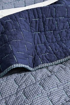 Kantha-Stitched Juliette Quilt by Anthropologie in Blue, Bedding Kantha Quilt, Quilts, Luxury Comforter Sets, Japanese Sewing, Pink Wallpaper Iphone, Kantha Stitch, How To Clean Iron, Fabric Manipulation, Hand Quilting