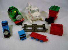 Large Lot of Thomas the Tank locomotives engines box cars Lego Duplo A USED