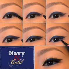 Elegant navy & gold winged eyeliner tutorial. Asian eye makeup, monolid makeup.