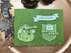 Stampin Up -  Karte - Card - Einladung zur Drachenparty - Produktpaket Zauberhafter Tag - Kindergeburtstagskarte - Kindergeburtstag - Olivgrün - Drache - Einladung♥ StempelnmitLiebe