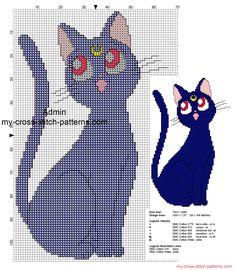 Sailor Moon Luna cat free cross stitch pattern