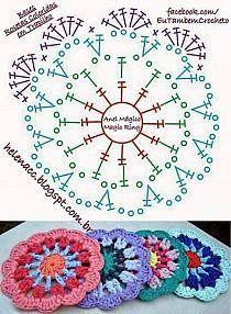 52 Ideas Crochet Mandala Diagram Charts For 2019 Motif Mandala Crochet, Crochet Circles, Crochet Blocks, Crochet Flower Patterns, Crochet Squares, Crochet Doilies, Crochet Flowers, Granny Squares, Crochet Coaster
