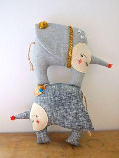 Elephant doll soft sculpture art doll circus by JessQuinnSmallArt