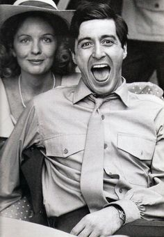 LOVE this photo of Diane Keaton and Al Pacino on the set of The Godfather