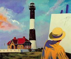 Edward Hopper en el Faro de Long Island by Eduardo Úrculo. 1987