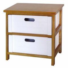 48,6€ Cajonera Moh 2 cajones de madera blanco y cerezo. #cajonera #madera #blanco #decoración  Deskontalia Productos - Descuentos del 70%