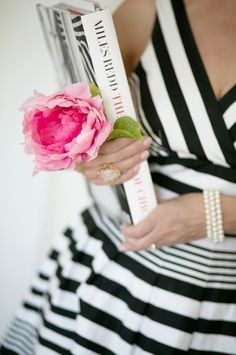 Black and White Stripes ~ With pink!