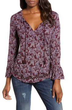 $69.5. LUCKY BRAND Top Printed Tie Neck Top #luckybrand #top #clothing Tie Blouse, Lucky Brand Tops, Paisley Print, Nordstrom, Tunic Tops, Long Sleeve, Clothes, Printed, Women