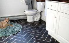 peel n stick luxury vinyl tile floors Luxury Vinyl Tile Flooring, Vinyl Tiles, Bathroom Flooring, Cheap Bathroom Makeover, Bathroom Makeovers On A Budget, Bathroom Ideas, Budget Bathroom, Painting Tile Floors, Painting Cabinets