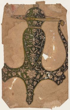 Design for a sword handle (Indian Tulwar) From the Museum of Fine Arts Boston 19th century DIMENSIONS Overall: 17.8 x 11.1 cm (7 x 4 3/8 in.) Image: 17.8 x 11.1 cm (7 x 4 3/8 in.)  ACCESSION NUMBER 17.2692  MEDIUM OR TECHNIQUE Ink and opaque watercolor on paper NOT ON VIEW COLLECTIONS Asia , Prints and Drawings Provenance Given to the MFA in 1917 by Denman Waldo Ross. Purchased in 1917 from Ananda Coomaraswamy. Purchased in India prior to 1916. Credit Line Ross-Coomaraswamy Collection