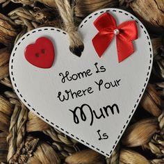 Mother's Day White Wooden Heart Gift Plaque Keepsake Or Fridge Magnet 1