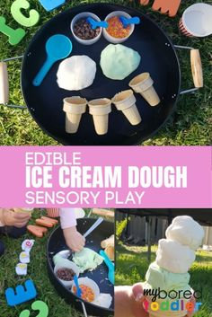 This edible ice cream dough sensory play activity is a great summer toddler activity idea! Summer Activities For Toddlers, Sensory Activities Toddlers, Indoor Activities, Infant Activities, Toddler Preschool, Toddler Crafts, Preschool Activities, Kids Crafts, Sensory Bottles