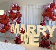 Romantic Room Surprise, Romantic Proposal, Romantic Ideas, Marquee Lights, Marriage Proposals, Marry Me, Decoration, Babys, Balloons