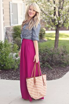 pink maxi dress denim shirt