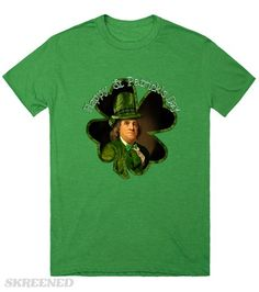 St Patrick's Day Lucky Ben Franklin Shamrock tee by #spoofingTheArts #Gravityx9 @Skreened -