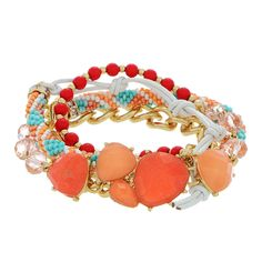 Gold tone wrap bracelet featuring red beads, peach and coral cabochons, and a strand of seed beads.