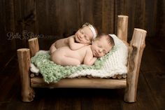 Newborn boy and girl twins log bed tushie-up stacked pose light sage green, cream, tan, brown | Bella Rose Portraits Southern California San Diego County newborn and baby photographer photography posing techniques