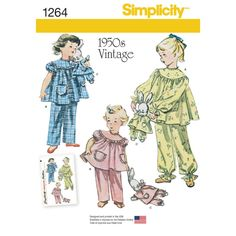 child's vintage pajamas include long or short sleeve top, pants with or without gathered ankle hem, stuffed bunny and bunny pajamas. simplicity sewing pattern.