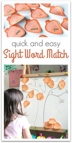 Easy sight word matching game for kindergarten.