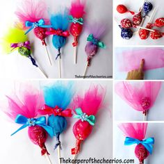 TROLLS PARTY FAVOR SUCKERS Materials: Tulle Ribbon Small flowers Suckers Scissors Glue Directions: cut tulle into rectangles (measure to make sure it is the desired size) make appx 3 squares (more if desire a solid look) cut small slit in. Trolls Party, Trolls Birthday Party, Birthday Favors, 4th Birthday Parties, Birthday Party Decorations, 2nd Birthday, Party Themes, Party Ideas, Party Bags