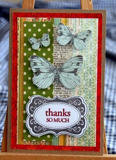 made this card using butterflies cut out from a SEI patterned paper.
