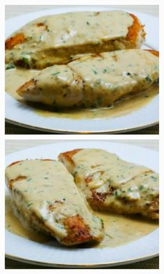 Sauteed Chicken Breasts Recipe with Tarragon-Mustard Pan Sauce; it only takes a little tarragon to make this sauce taste amazing. [from KalynsKitchen.com] #ChickenBreasts #FreshTarragon