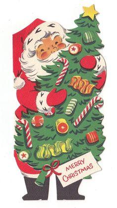 Vintage Greeting Card Christmas Santa Claus Tree Mid-Century Die-Cut