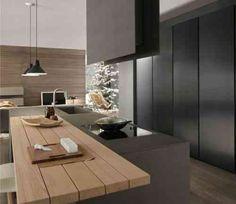 cuisine noire avec plan de travail en bois moderne
