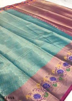 Sarees Online | Buy Sarees Online |@ ibuyfromindia.com Kora Silk Sarees, Kanjivaram Sarees, Green Saree, Pink Saree, Fancy Sarees, Party Wear Sarees, Festival Wear, Festival Wedding, Organza Saree
