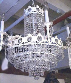 Shabby Chic white and crystal chandelier by tiquelight on Etsy, $850.00