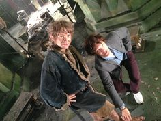 Why have I never seen this before?!?! Martin Freeman and Benedict Cumberbatch on the set of The Hobbit.