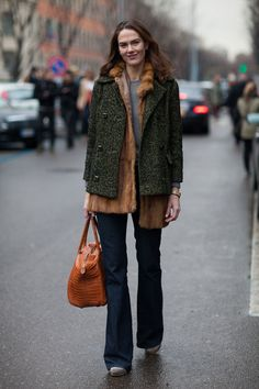 A layering of fur and tweed is casual yet cool.
