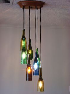 wine bottle chandelier diy - Google Search