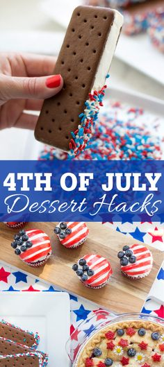 of July Dessert Hacks! Easy and patriotic grocery store dessert hacks to try this of July. 4th Of July Cake, 4th Of July Desserts, Fourth Of July Food, Desserts For A Crowd, Desserts To Make, 4th Of July Party, Köstliche Desserts, Food For A Crowd, Dessert Recipes
