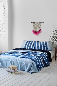 Noodle Indigo Stripe Bed Blanket - Urban Outfitters on Wanelo Striped Bedding, Home, Bedroom Makeover, Home Bedroom, 1960s Home Decor, Bed Blanket, Tie Dye Bedding, Bed, Bedroom Decor
